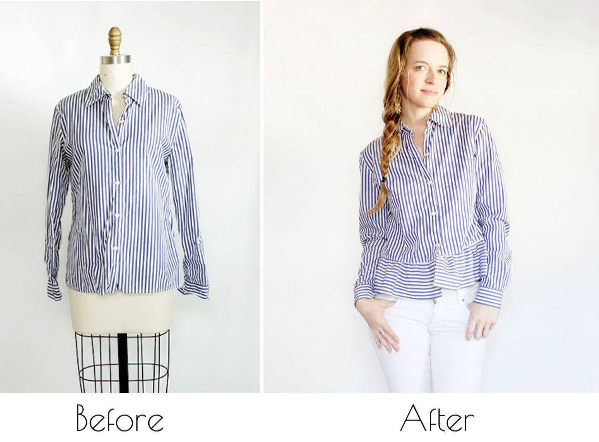 upcycled button down shirt
