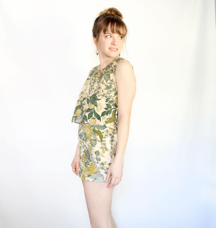 vintage floral shorts set